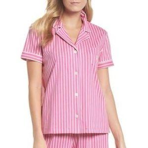 Ralph Lauren pink white striped button down top
